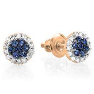 0.30 Carat (ctw) 10K Rose Gold Blue Sapphire & White Diamond Ladies Cluster Flower Stud Earrings 1/3 CT