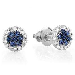 0.30 Carat (ctw) 18K White Gold Blue Sapphire & White Diamond Ladies Cluster Flower Stud Earrings 1/3 CT