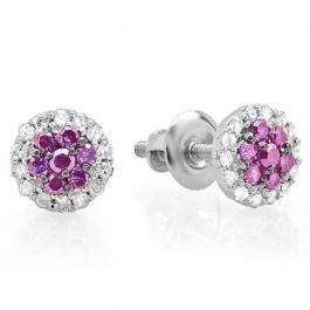 0.30 Carat (ctw) 10K White Gold Pink Sapphire & White Diamond Ladies Cluster Flower Stud Earrings 1/3 CT