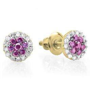 0.30 Carat (ctw) 10K Yellow Gold Pink Sapphire & White Diamond Ladies Cluster Flower Stud Earrings 1/3 CT