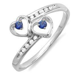 0.15 Carat (ctw) Sterling Silver Round Blue Sapphire & White Diamond Ladies Bridal Double Heart Promise Ring