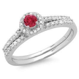 0.65 Carat (ctw) 10K White Gold Round Red Ruby & White Diamond Ladies Bridal Engagement Halo Ring With Matching Band Set
