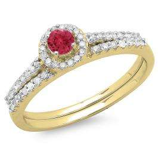 0.65 Carat (ctw) 10K Yellow Gold Round Red Ruby & White Diamond Ladies Bridal Engagement Halo Ring With Matching Band Set