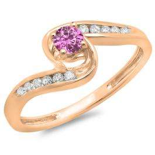0.36 Carat (ctw) 14K Rose Gold Round Pink Sapphire & White Diamond Ladies Twisted Swirl Bridal Engagement Ring 1/3 CT
