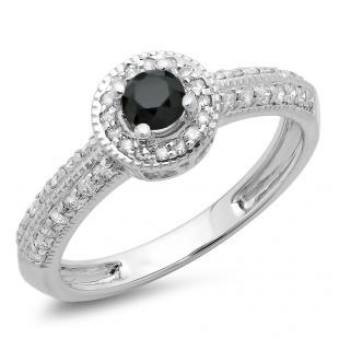 0.70 Carat (ctw) 10K White Gold Round Black & White Diamond Ladies Bridal Vintage Style Millgrain Halo Engagement Ring 3/4 CT
