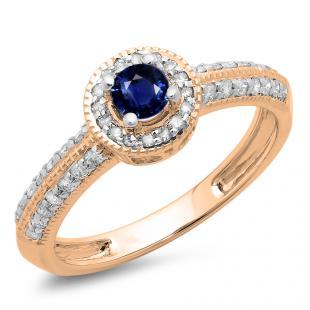 0.70 Carat (ctw) 10K Rose Gold Round Blue Sapphire & White Diamond Ladies Bridal Vintage Style Millgrain Halo Engagement Ring 3/4 CT