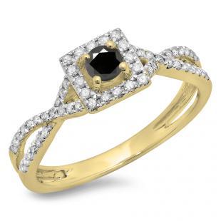 0.50 Carat (ctw) 18K Yellow Gold Round Cut Black & White Diamond Ladies Bridal Swirl Split Shank Halo Engagement Ring 1/2 CT