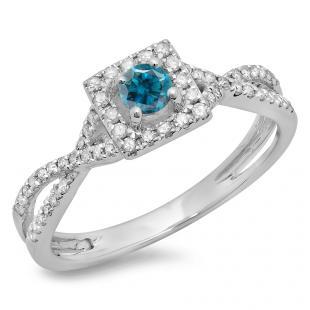 0.50 Carat (ctw) 14K White Gold Round Cut Blue & White Diamond Ladies Bridal Swirl Split Shank Halo Engagement Ring 1/2 CT