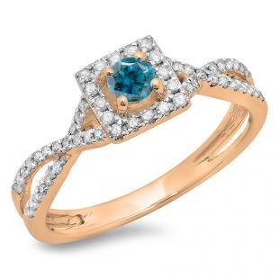 0.50 Carat (ctw) 18K Rose Gold Round Cut Blue & White Diamond Ladies Bridal Swirl Split Shank Halo Engagement Ring 1/2 CT