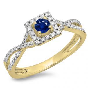 0.50 Carat (ctw) 10K Yellow Gold Round Cut Blue Sapphire & White Diamond Ladies Bridal Swirl Split Shank Halo Engagement Ring 1/2 CT