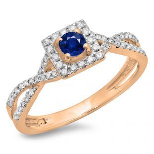 0.50 Carat (ctw) 18K Rose Gold Round Cut Blue Sapphire & White Diamond Ladies Bridal Swirl Split Shank Halo Engagement Ring 1/2 CT
