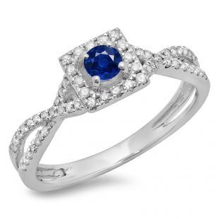 0.50 Carat (ctw) 18K White Gold Round Cut Blue Sapphire & White Diamond Ladies Bridal Swirl Split Shank Halo Engagement Ring 1/2 CT