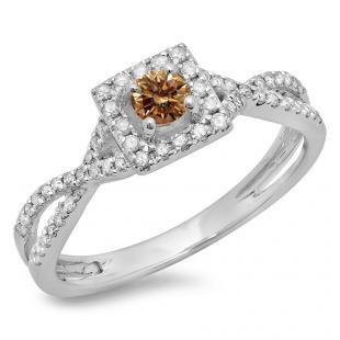 0.50 Carat (ctw) 14K White Gold Round Cut Champagne & White Diamond Ladies Bridal Swirl Split Shank Halo Engagement Ring 1/2 CT