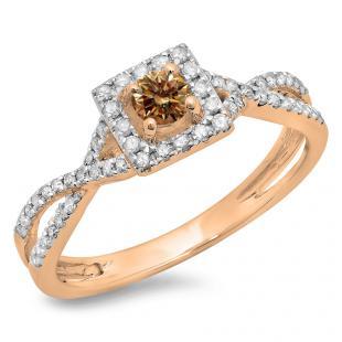 0.50 Carat (ctw) 18K Rose Gold Round Cut Champagne & White Diamond Ladies Bridal Swirl Split Shank Halo Engagement Ring 1/2 CT