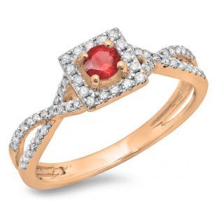 0.50 Carat (ctw) 18K Rose Gold Round Cut Red Ruby & White Diamond Ladies Bridal Swirl Split Shank Halo Engagement Ring 1/2 CT
