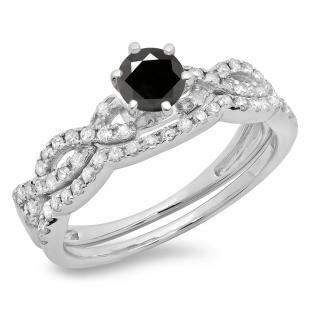 0.90 Carat (ctw) 14K White Gold Round Cut Black & White Diamond Ladies Bridal Twisted Swirl Engagement Ring Matching Wedding Band Set