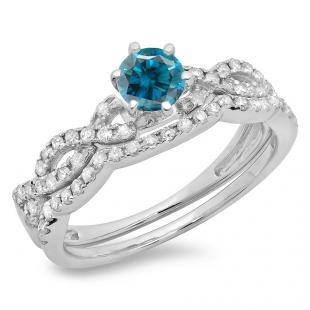0.90 Carat (ctw) 10K White Gold Round Cut Blue & White Diamond Ladies Bridal Twisted Swirl Engagement Ring Matching Wedding Band Set