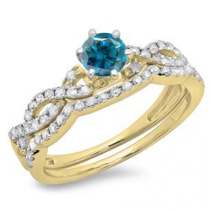 0.90 Carat (ctw) 14K Yellow Gold Round Cut Blue & White Diamond Ladies Bridal Twisted Swirl Engagement Ring Matching Wedding Band Set