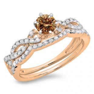 0.90 Carat (ctw) 18K Rose Gold Round Cut Champagne & White Diamond Ladies Bridal Twisted Swirl Engagement Ring Matching Wedding Band Set