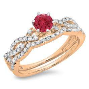 0.90 Carat (ctw) 18K Rose Gold Round Cut Red Ruby & White Diamond Ladies Bridal Twisted Swirl Engagement Ring Matching Wedding Band Set