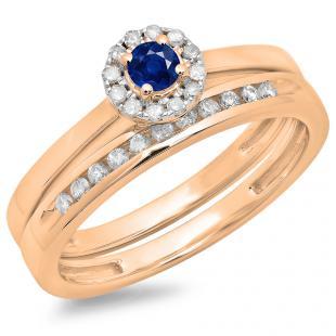0.33 Carat (ctw) 14K Rose Gold Round Cut Blue Sapphire & White Diamond Ladies Bridal Halo Engagement Ring With Matching Band Set 1/3 CT