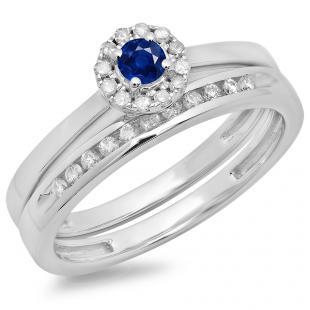 0.33 Carat (ctw) 18K White Gold Round Cut Blue Sapphire & White Diamond Ladies Bridal Halo Engagement Ring With Matching Band Set 1/3 CT