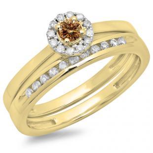 0.33 Carat (ctw) 18K Yellow Gold Round Cut Champagne & White Diamond Ladies Bridal Halo Engagement Ring With Matching Band Set 1/3 CT