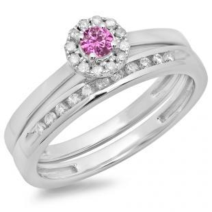 0.33 Carat (ctw) 18K White Gold Round Cut Pink Sapphire & White Diamond Ladies Bridal Halo Engagement Ring With Matching Band Set 1/3 CT