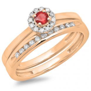 0.33 Carat (ctw) 10K Rose Gold Round Cut Red Ruby & White Diamond Ladies Bridal Halo Engagement Ring With Matching Band Set 1/3 CT