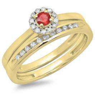 0.33 Carat (ctw) 14K Yellow Gold Round Cut Red Ruby & White Diamond Ladies Bridal Halo Engagement Ring With Matching Band Set 1/3 CT