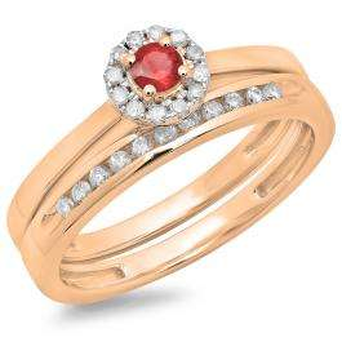 0.33 Carat (ctw) 18K Rose Gold Round Cut Red Ruby & White Diamond Ladies Bridal Halo Engagement Ring With Matching Band Set 1/3 CT