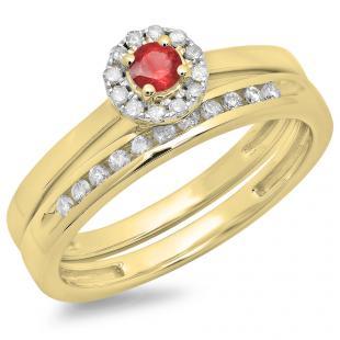 0.33 Carat (ctw) 18K Yellow Gold Round Cut Red Ruby & White Diamond Ladies Bridal Halo Engagement Ring With Matching Band Set 1/3 CT