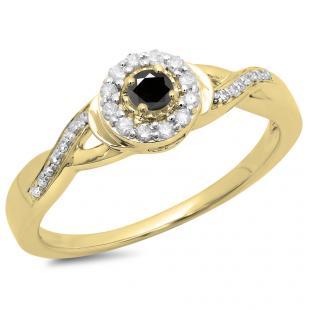 0.25 Carat (ctw) 10K Yellow Gold Round Black & White Diamond Ladies Swirl Split Shank Bridal Halo Engagement Ring 1/4 CT