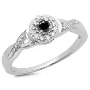 0.25 Carat (ctw) 14K White Gold Round Black & White Diamond Ladies Swirl Split Shank Bridal Halo Engagement Ring 1/4 CT