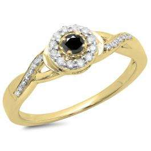 0.25 Carat (ctw) 14K Yellow Gold Round Black & White Diamond Ladies Swirl Split Shank Bridal Halo Engagement Ring 1/4 CT