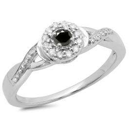 0.25 Carat (ctw) 18K White Gold Round Black & White Diamond Ladies Swirl Split Shank Bridal Halo Engagement Ring 1/4 CT