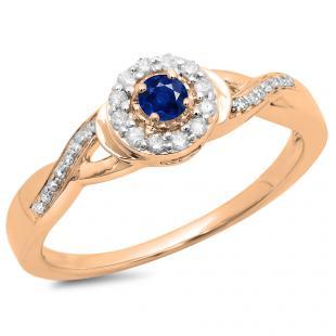 0.25 Carat (ctw) 18K Rose Gold Round Blue Sapphire & White Diamond Ladies Swirl Split Shank Bridal Halo Engagement Ring 1/4 CT