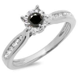0.40 Carat (ctw) 10K White Gold Round Cut Black & White Diamond Ladies Bridal Solitaire With Accents Engagement Ring