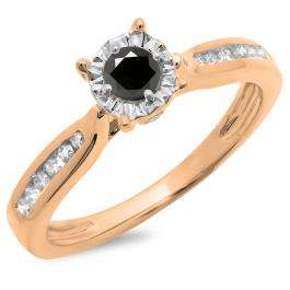 0.40 Carat (ctw) 14K Rose Gold Round Cut Black & White Diamond Ladies Bridal Solitaire With Accents Engagement Ring