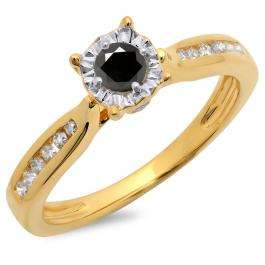 0.40 Carat (ctw) 14K Yellow Gold Round Cut Black & White Diamond Ladies Bridal Solitaire With Accents Engagement Ring