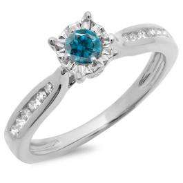 0.40 Carat (ctw) 10K White Gold Round Cut Blue & White Diamond Ladies Bridal Solitaire With Accents Engagement Ring