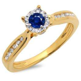0.40 Carat (ctw) 10K Yellow Gold Round Cut Blue Sapphire & White Diamond Ladies Bridal Solitaire With Accents Engagement Ring