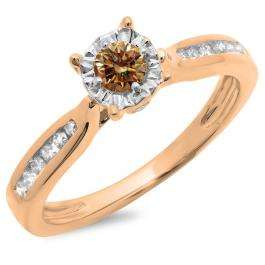0.40 Carat (ctw) 14K Rose Gold Round Cut Champagne & White Diamond Ladies Bridal Solitaire With Accents Engagement Ring