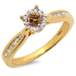 0.40 Carat (ctw) 14K Yellow Gold Round Cut Champagne & White Diamond Ladies Bridal Solitaire With Accents Engagement Ring