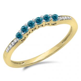 0.25 Carat (ctw) 18K Yellow Gold Round Blue & White Diamond Ladies Anniversary Wedding Stackable Band Guard Ring 1/4 CT