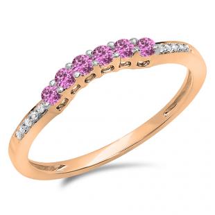 0.25 Carat (ctw) 10K Rose Gold Round Pink Sapphire & White Diamond Ladies Anniversary Wedding Stackable Band Guard Ring 1/4 CT