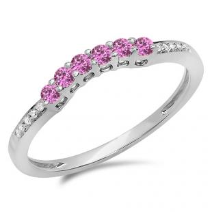 0.25 Carat (ctw) 14K White Gold Round Pink Sapphire & White Diamond Ladies Anniversary Wedding Stackable Band Guard Ring 1/4 CT