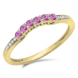 0.25 Carat (ctw) 18K Yellow Gold Round Pink Sapphire & White Diamond Ladies Anniversary Wedding Stackable Band Guard Ring 1/4 CT