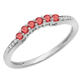 0.25 Carat (ctw) 10K White Gold Round Red Ruby & White Diamond Ladies Anniversary Wedding Stackable Band Guard Ring 1/4 CT