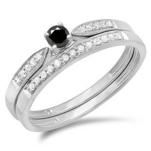 0.25 Carat (ctw) 10K White Gold Round Black & White Diamond Ladies Bridal Engagement Ring Matching Band Wedding Set 1/4 CT